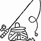 Fishing Pole Coloring Pages Fish Bucket sketch template