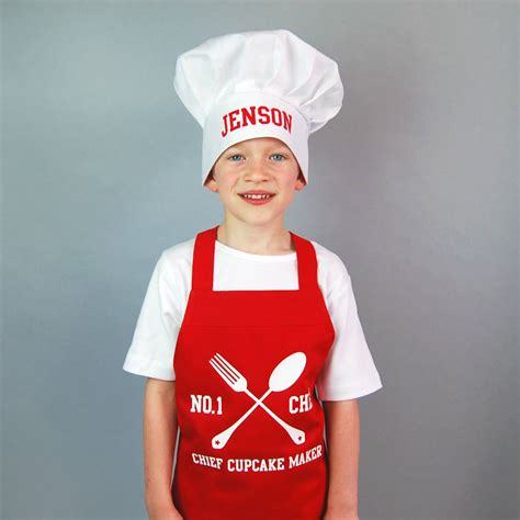 chapeau cuisine personalised children 39 s apron and chef hat set by simply