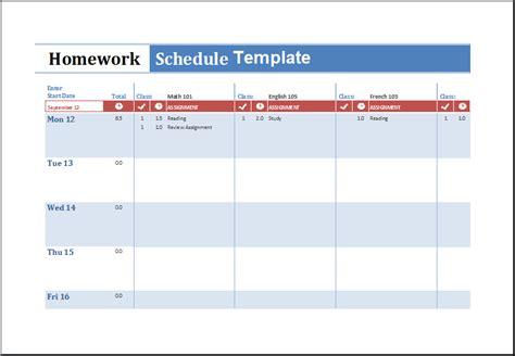 homework schedule template excel  excel spreadsheets