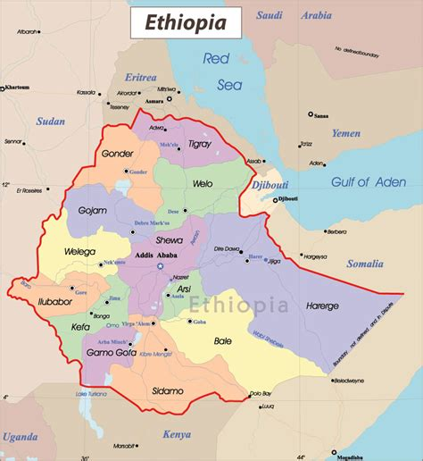 detailed administrative map  ethiopia  cities