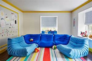 Playroom with Ligne Roset Togo Fireside Chairs