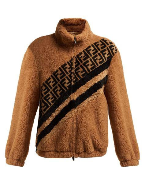 Fendi Satin Ff Faux Shearling Jacket in Brown - Lyst