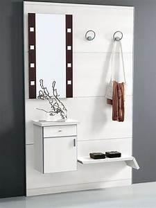 pad351 meuble entree avec miroir et crochets sediarreda With porte d entrée alu avec meuble salle de bain 90 cm