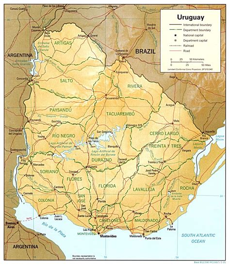 large detailed relief  political map  uruguay