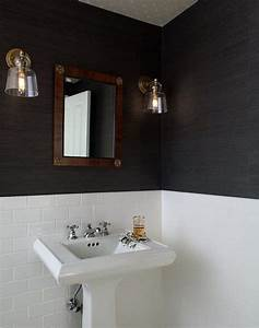 Black and white bathroom with white bamboo mirror for Grasscloth wallpaper in bathroom