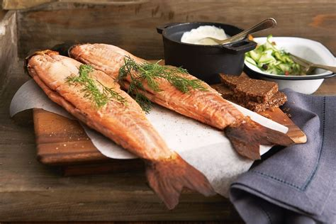 smoked trout snowy mountains smoked trout with pickled cucumber recipes delicious com au