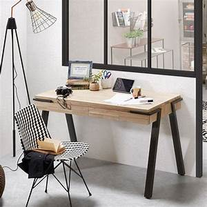 Bureau Design Bois Et Mtal 125x60 2 Tiroirs Spike By Drawer