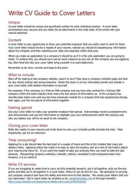 write cv guide  cover letters