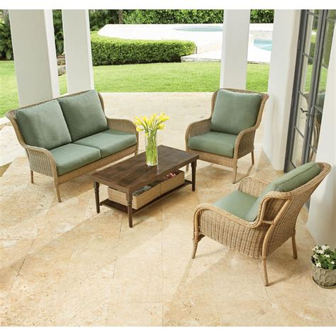 hton bay lemon grove 4 wicker outdoor patio