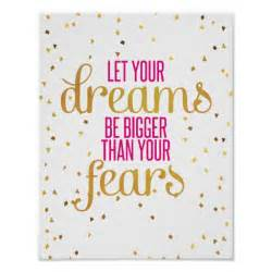pink and gold dreams inspirational quote poster zazzle