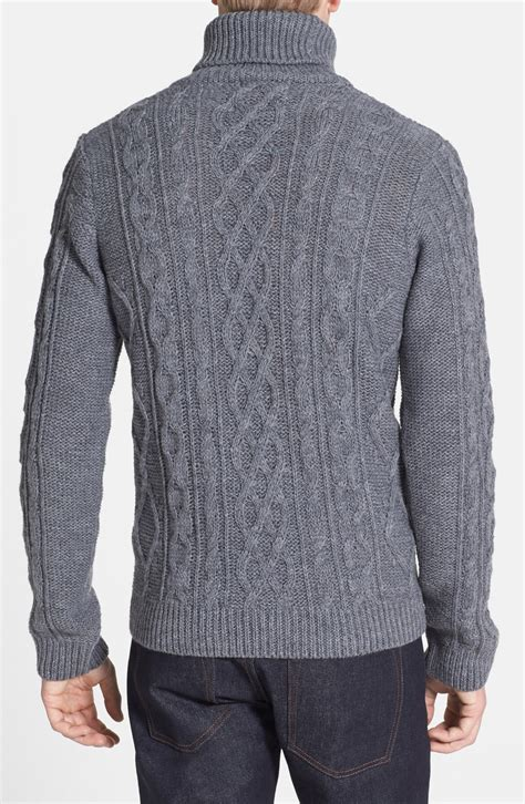 mens chunky knit sweater topman chunky cable knit turtleneck sweater in gray for