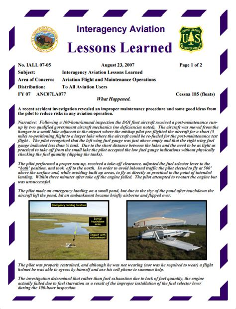 lessons learned template    documents