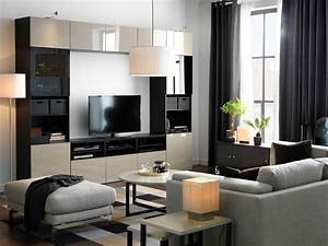 A large tv storage combination in black brown with beige for Ikea black gloss living room furniture