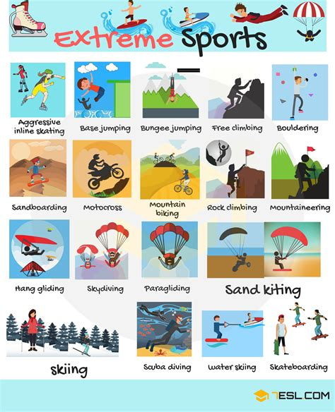 Extreme Sports Vocabulary | List of Extreme Sports - 7 E S L
