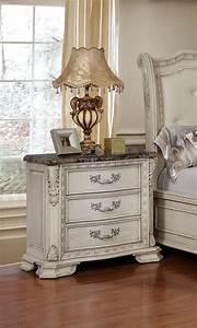 Antique, White, Tufted, King, Size, Bedroom, Set, 5pcs, Traditional, Mcferran, B1000, B1000