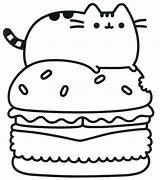 Pusheen Hamburger Coloring Pages Printable Cat Cartoon Version Categories sketch template