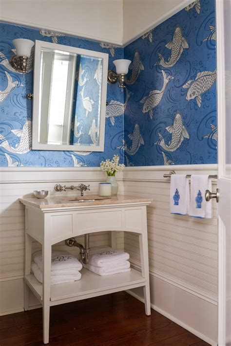 fish wallpaper powder room traditional with blue