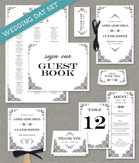 iron lace printable wedding stationery collection