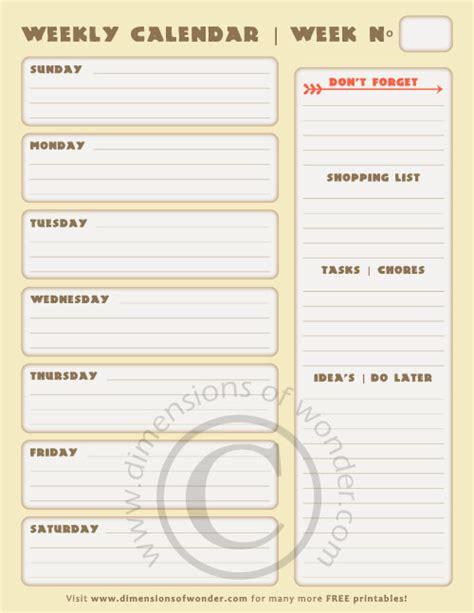 printable weekly calendar   list dimensions