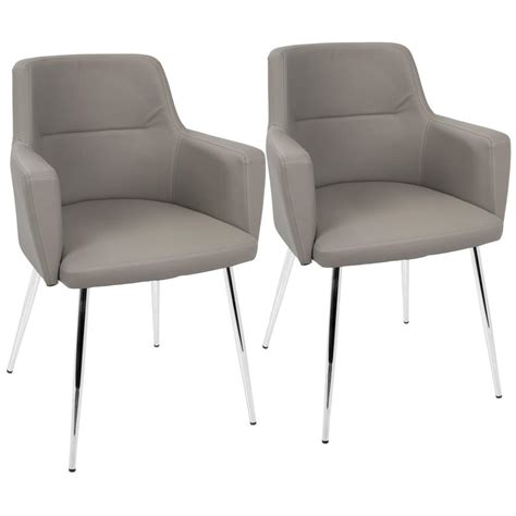 Lumisource Andrew Contemporary Grey And Chrome Dining