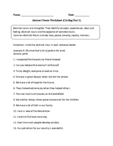 abstract nouns worksheets for grade 2 englishlinx com board