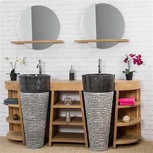 Meuble De Salle : meuble sous vasque double vasque en bois teck massif vasques en marbre florence naturel ~ Nature-et-papiers.com Idées de Décoration