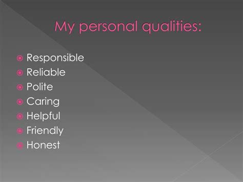 Personal Qualities For by Ppt My Personality And Career 11c Mig Lė Vadlugaitė Powerpoint Presentation Id 5213399