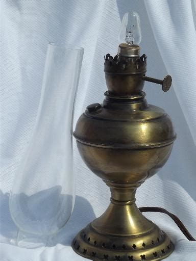 vintage electric lamp antique oil lamp type  glass