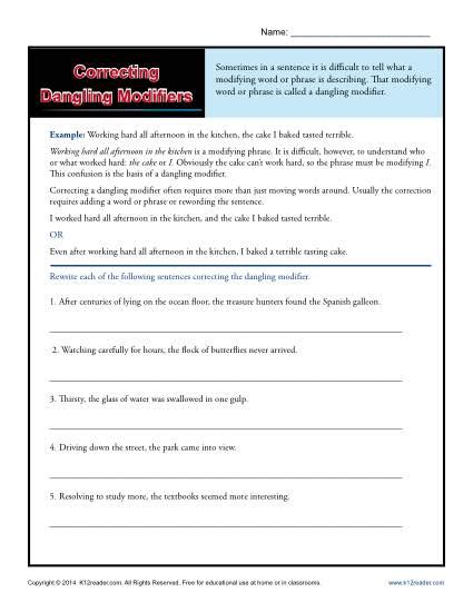 dangling and misplaced modifiers worksheet worksheets for