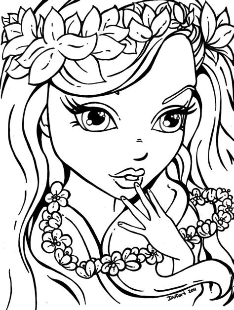 hard coloring pages  girls az coloring pages