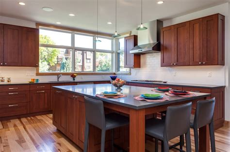 contemporary kitchen dining room remodel  grey cabinets