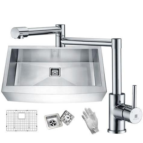 kitchen sink finishes anzzi elysian farmhouse stainless steel 32 in single bowl 2707