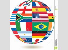 National Flags In Square Shape On A Globe Stock
