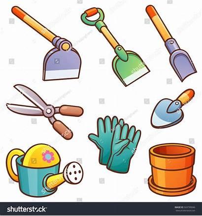 Tools Garden Cartoon Gardening Clipart Vector Illustration
