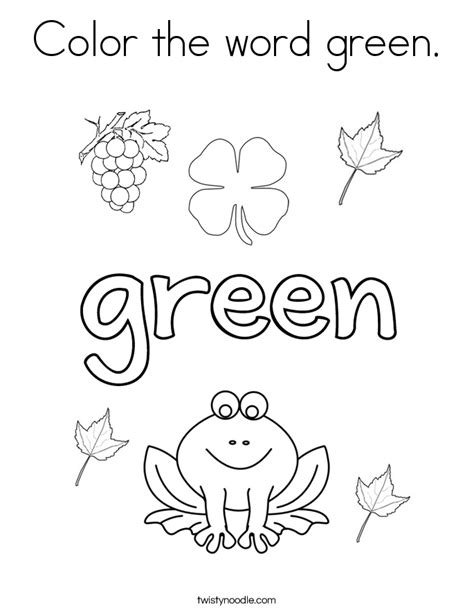 color  word green coloring page twisty noodle