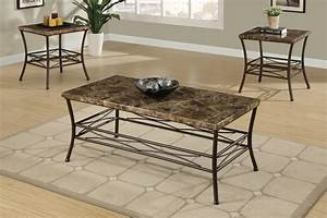 3pc maylin marble top coffee end table set With stone top coffee table sets