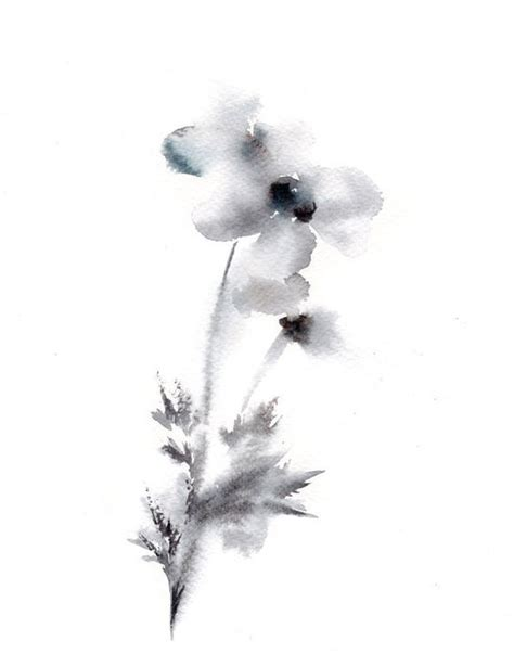Abstract Black And White Watercolor Painting by Minimalist Flowers Watercolor Painting Print Grey