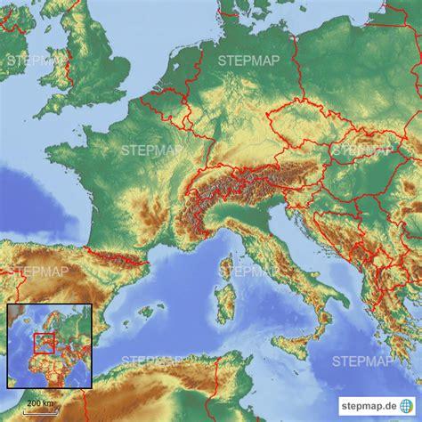 stepmap laender der alpen landkarte fuer europa