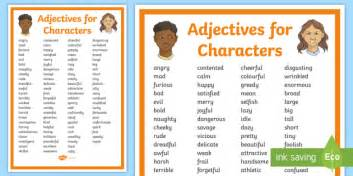 Adjectives For Characters Display Poster  Adjectives, Characters, People