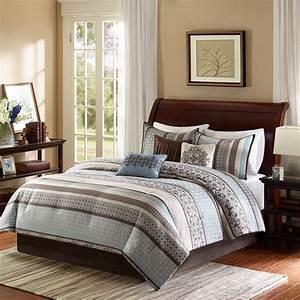 King, Size, Princeton, 7, Piece, Comforter, Set, Blue, Transition