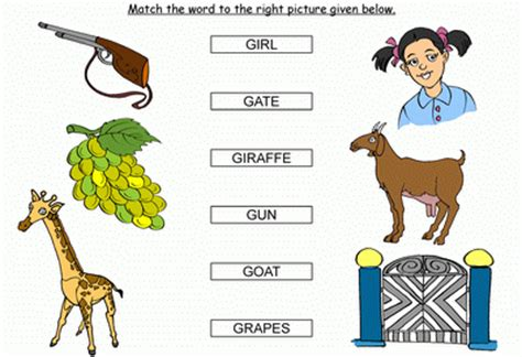 preschool words that start with g activity match the words starting with g black 402