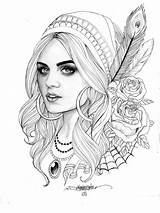 Coloring Pages Gypsy Sheets Colouring Books Tattoo Adult Adults Face Fairy Tattoos Designs sketch template