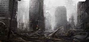 Art Fiction Town Ruins Machine Skeleton Post