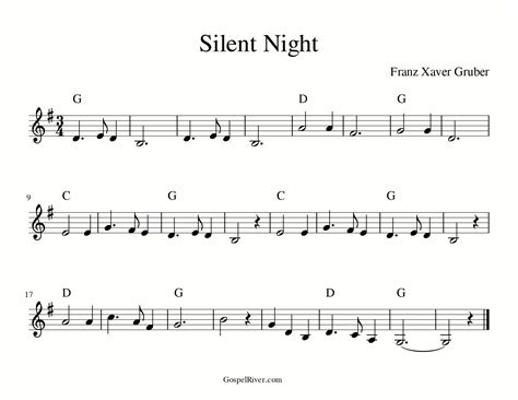 Free printable pdfs of five different arrangements of we wish you a merry christmas for piano, sheet music for beginner to advanced pianists. GospelRiver.com :: Silent Night Sheet Music: Play Piano with Chords