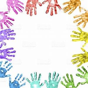 Colorful Children Handprints Border stock photo 185283843 ...