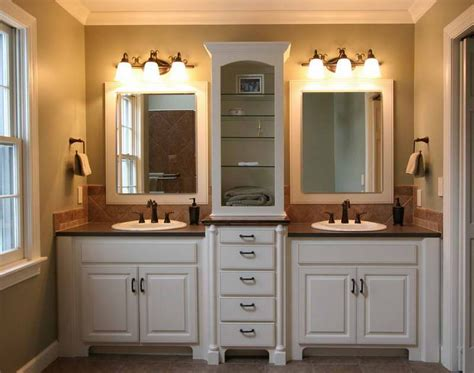 Agreeable Double Vanity With Marble Top Also Wall Lights