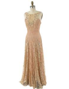 blush wedding dress 30s style ecru blush beige lace gown vintage inspired maxi