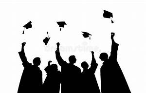 Silhouettes Of Students Throwing Mortarboards Stock ...