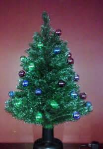 tabletop christmas tree vintage rotating prelit fiber optic