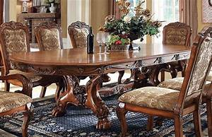 Medieve Antique Oak Finish Formal 7 Piece Dining Room